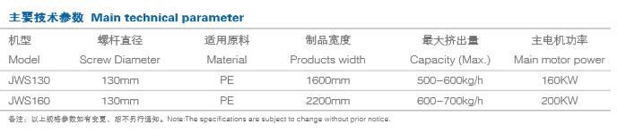 pe breathable film production line main technical parameters